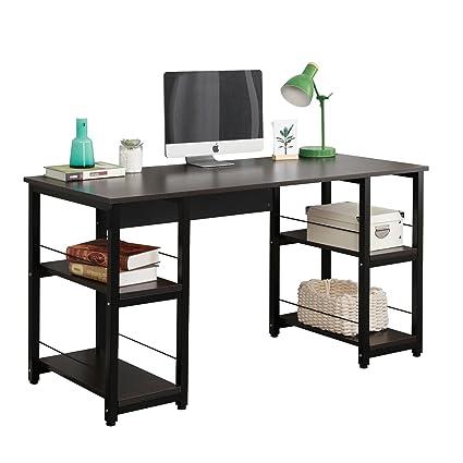 Sensational Dlandhome 55 Large Computer Desk With 2 Storage Shelves For Both Side Wooden Home Office Desk Workstation Table Dz012 Bb Black 1 Packdlandhome Home Interior And Landscaping Ponolsignezvosmurscom