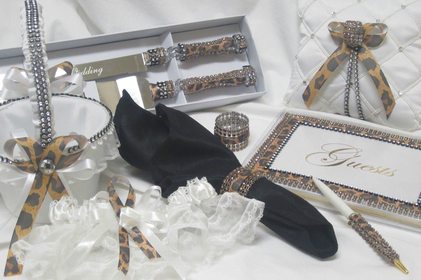 Leopard Print Wedding Reception Guest Book Cake Knife and Server Basket Garter by onlinepartycenter