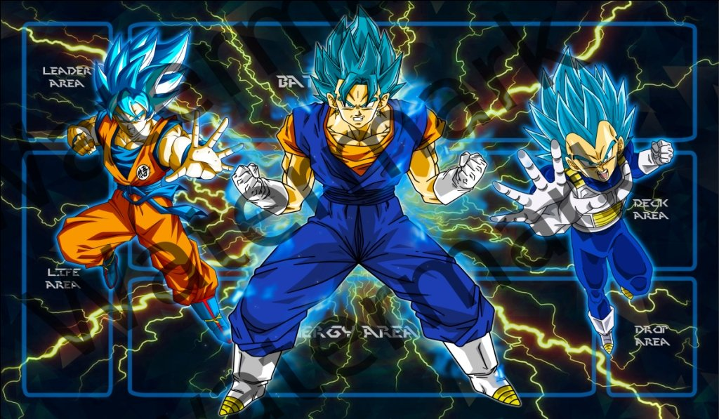 Masters of trade Dragonball Super Vegito Blue Goku and Vegeta Blue DBZ DBS TCG CCG playmat gamemat 24'' wide 14'' tall for trading card game smooth cloth surface rubber base