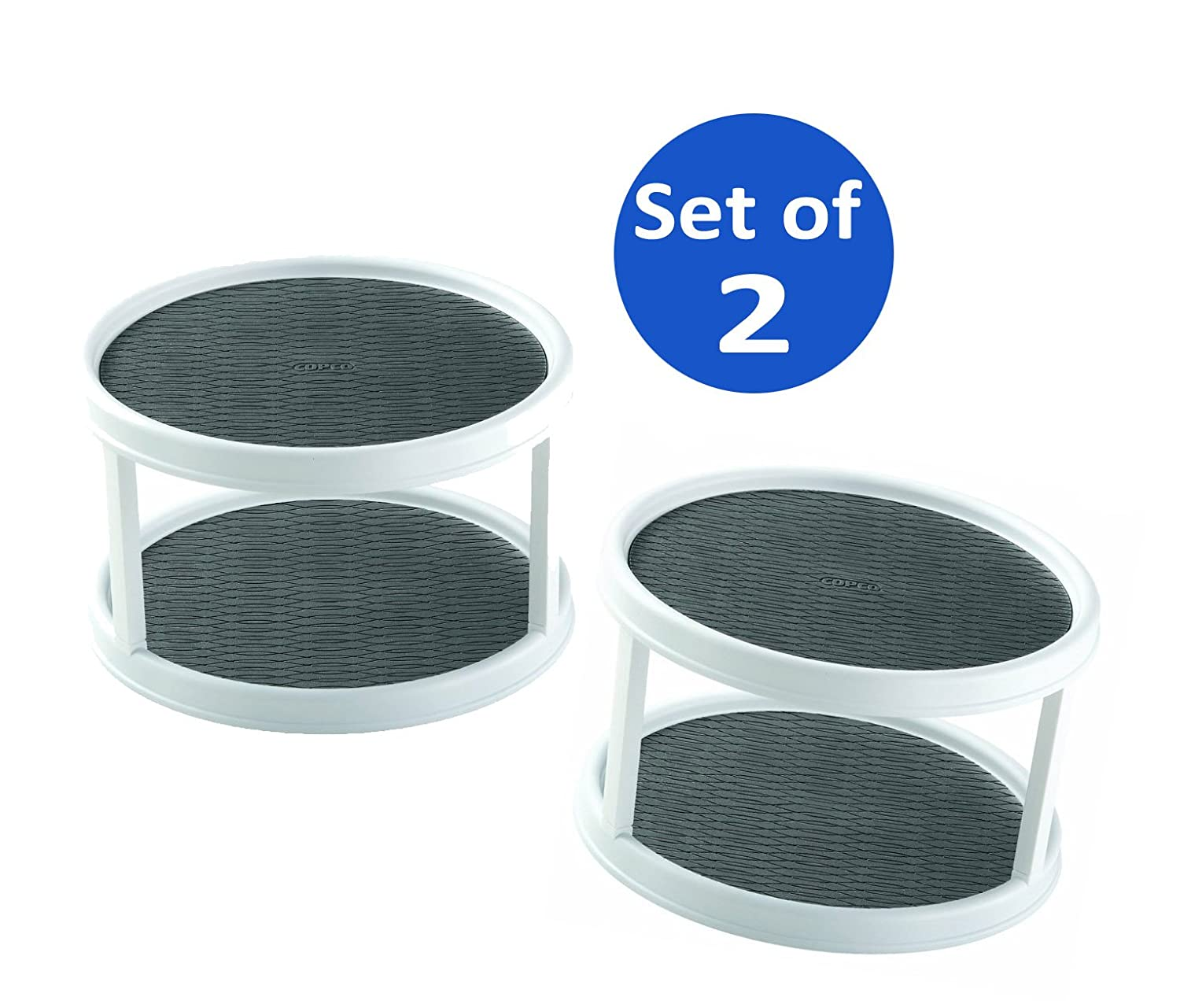 amazoncom copco nonskid 2tier cabinet turntable 12inch set of 2 home u0026 kitchen