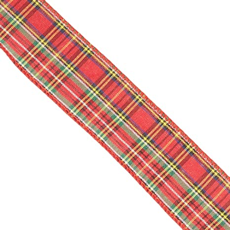 Reliant Ribbon 9174M-001-40F Designer Plaid Wired Edge Ribbon 2-1//2 Inch X 10 Yards Multi