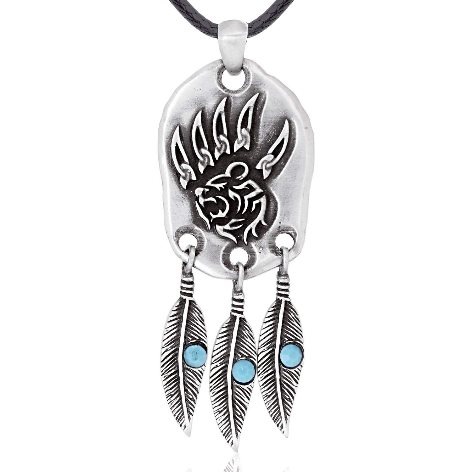 Dan's Jewelers Indian Inspired Feather Bear Claw Pendant Necklace, Fine Pewter Jewelry by Dan's Jewelers (Image #1)