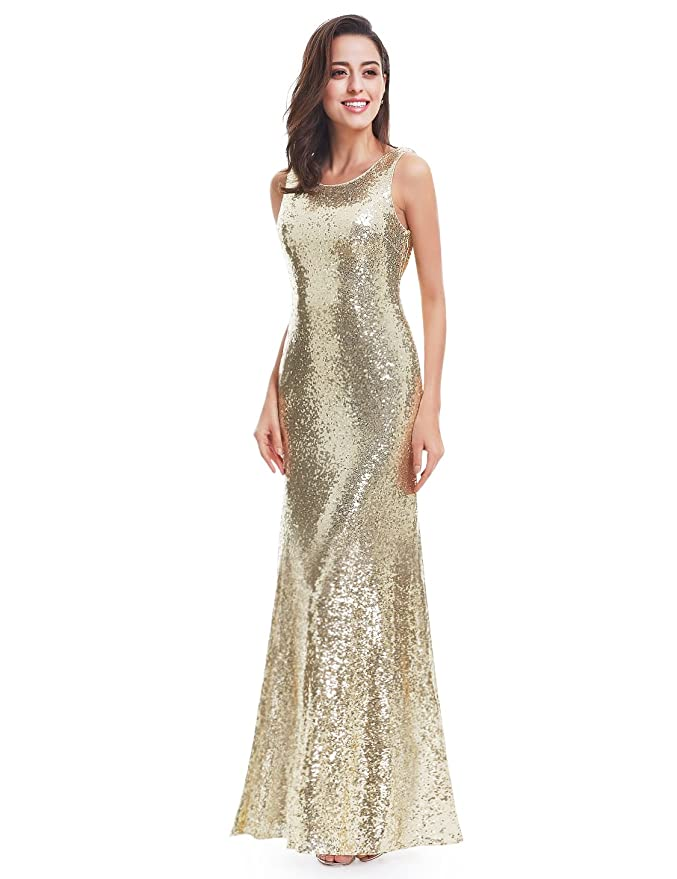 Amazon.com: Ever Pretty Sleeveless Long Sequins Evening Gown 07110: Clothing