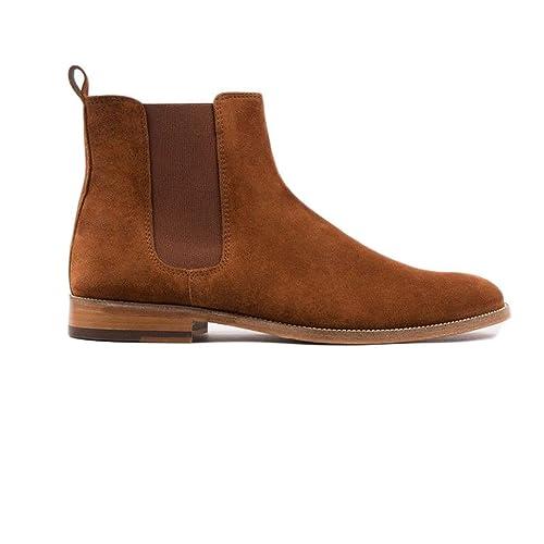 WANM - Botines Chelsea de Cuero Hombre: Amazon.es: Zapatos y complementos