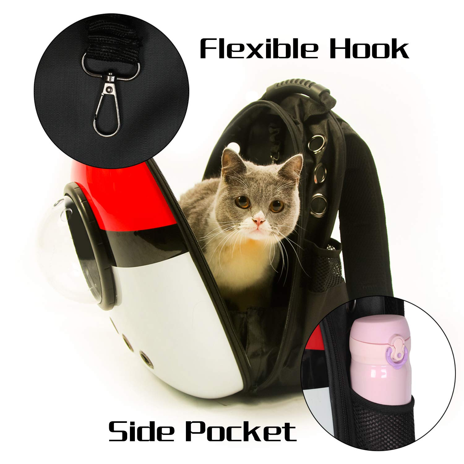 Xpect Cat Carrier Bubble Backpack Pet Travel Bag Small Dog Space Capsule Knapsack  Waterproof Breathable Red and White by Xpect (Image #5)