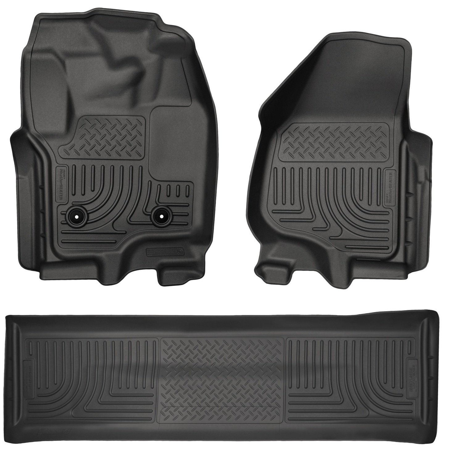 Amazon Com Husky Liners Nd Seat Floor Liners Fits   F Crew With Carpet And Driver Side Foot Rest Automotive