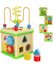 Top Bright Wooden Activity Cube - 1 Year Old Shape Shorter Bead Maze Toy Educational Baby Gifts for One Year Old Boys and Girls