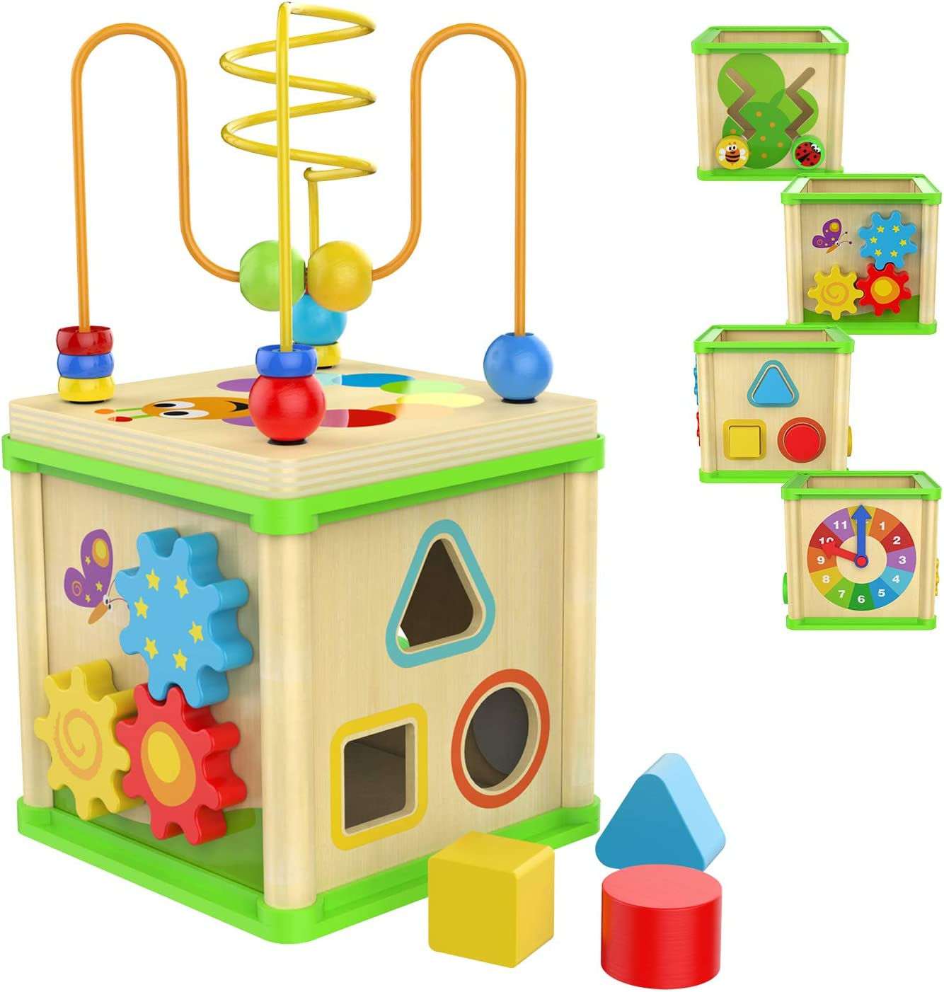 TOP BRIGHT Wooden Activity Cube Toys for 1 2 Year Old Girl Boy, One Year Old First Birthday Gift Ideas, Wooden Toy with Bead Maze Shape Sorter