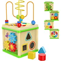 TOP BRIGHT Wooden Activity Cube Toys for 1 2 Year Old Girl Boy, One Year Old First Birthday Gift Ideas, Educational Baby Toy with Bead Maze Shape Sorter