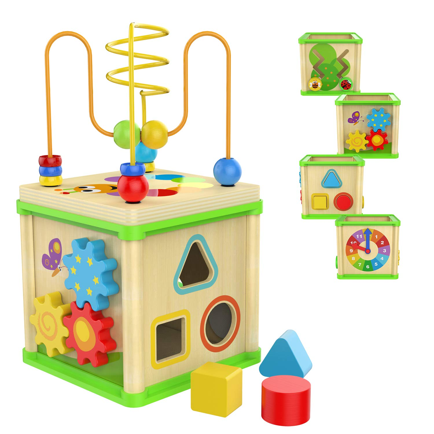 TOP BRIGHT Wooden Activity Cube - 1 Year Old Shape Shorter Bead Maze Toy Educational Baby Gifts for One Year Old Boys