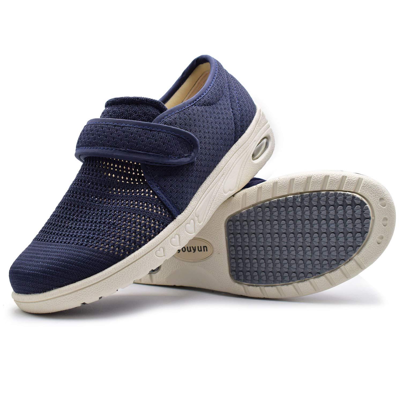 W&Le-Slippers Women's Adjustable Diabetic Slippers - Extra Wide Width Arthritis Edema Footwear (10, Blue)