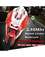 2.4G 4 Channel RC Remote Control Motorcycle Motorbike Rider Wireless Radio Goes on 2 wheels with Built in Gyroscope 1:20 Scale for Boys Child