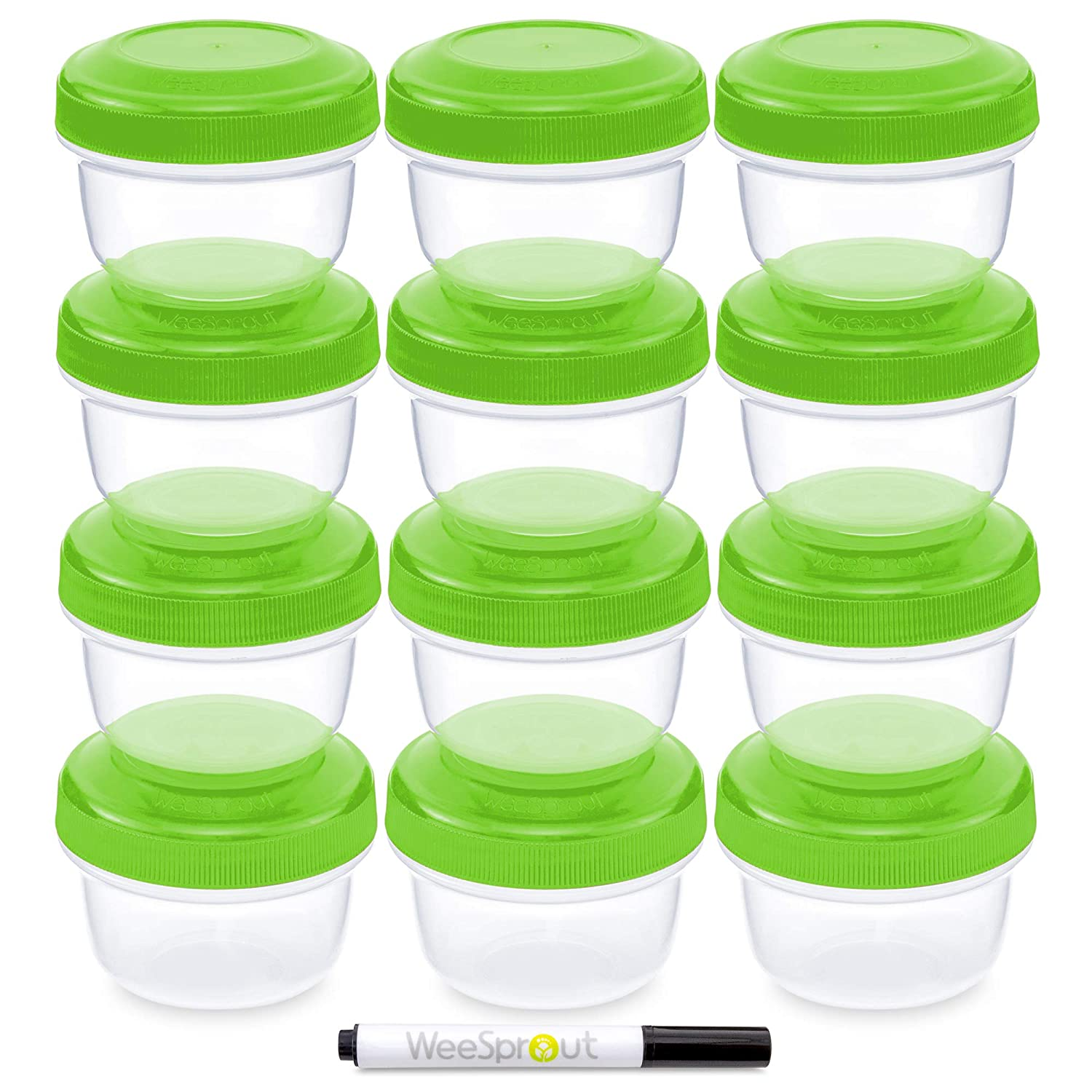 WeeSprout Baby Food Storage Containers | Set of 12 Small Reusable 4oz Jars with Leakproof Lids (Green Color) - BPA Free Plastic - Freezer/Dishwasher Safe - Also Use for Kids Snacks/Lunch Containers