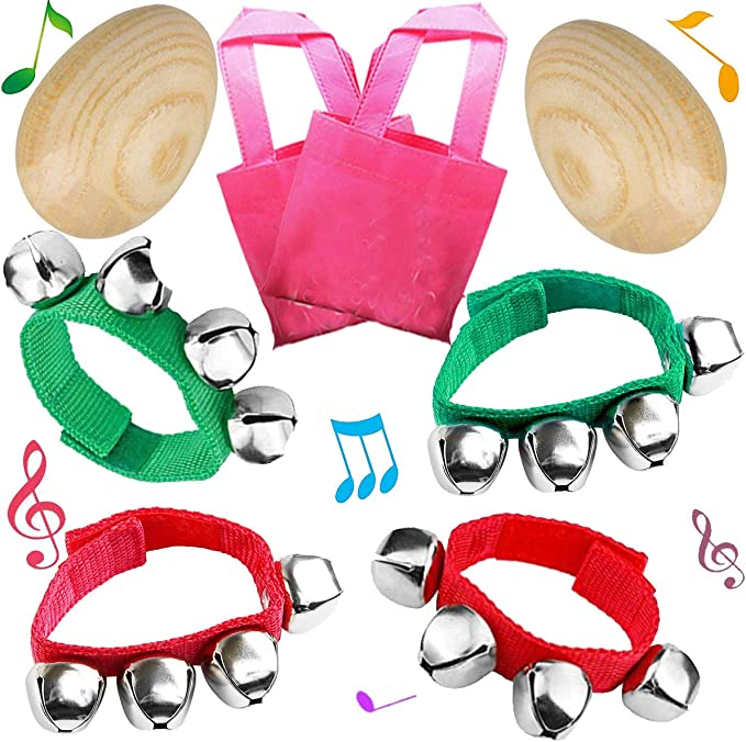 DIY Painting 8PCS NimJoy Natural Wood Egg Shakers Jingle Bell Bracelets Rattles Percussion Musical Toys Set for Classroom Music Bonus Gift Bags Playing Easter Egg Hunt /& Basket Fillers