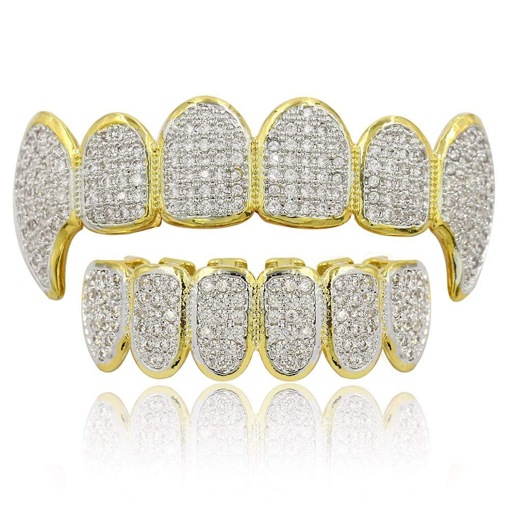 Moca Jewelry Hip Hop Unisex 18K Gold Plated Iced Out CZ Simulated Diamond Top Bottom Teeth Grillz Set for Men Women (Gold) by Moca Jewelry