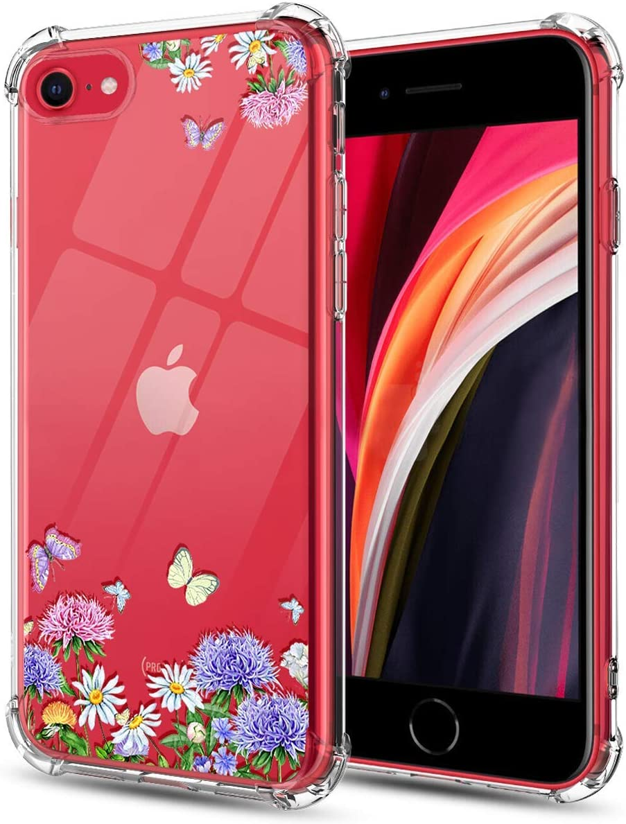 Huness iPhone SE 2020 Case,iPhone 8 Case,iPhone 7 Case,iPhone SE 2nd Generation Case,Cute Flower Clear Design Anti-Fall Soft TPU Bumper Case Cover for iPhone SE 2020 Phone (Butterfly Flower)