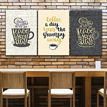 Wall26 3 Panel Canvas Wall Art Coffee Art With Quotes And Floral Texture Background Giclee Print Gallery Wrap Modern Home Decor Ready To Hang