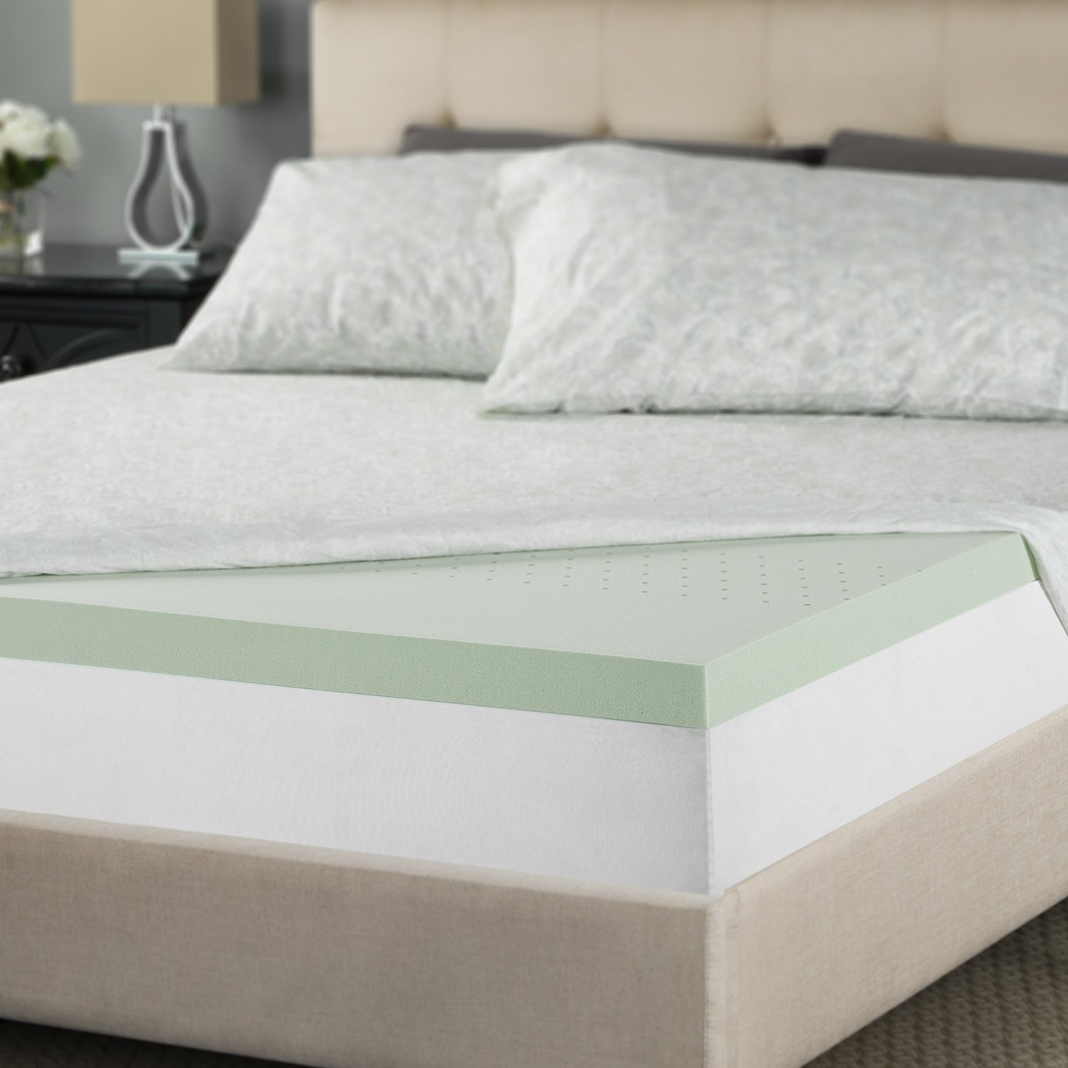 Zinus 2 Inch Green Tea Memory Foam Mattress Topper, Twin by Zinus