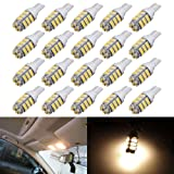 AUTOUS90 20 x RV Trailer T10 921 194 168 2825 42-SMD 12V Backup Reverse LED Warm White Lights Bulbs