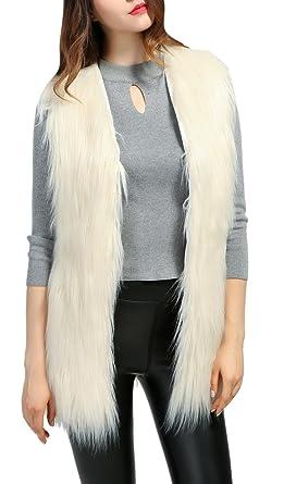 fdfc32eabc8a Luodemiss Women s Trendy Sleeveless Collarless Short Faux Fur Vest ...