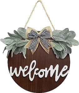 NASSBON Welcome Sign Porch Decor,Rustic Wooden Door Hangers Front Door,Spring Welcome Wreath Sign for Farmhouse Outdoor Hanging Home Decoration Housewarming (Brown)