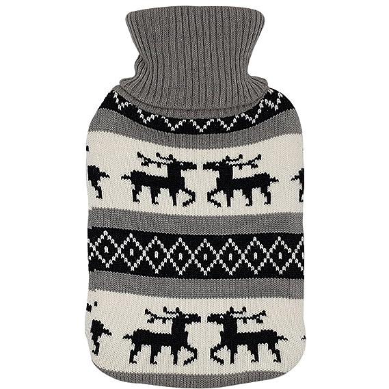 Wärmflasche 2 Liter Wärmflaschen Bezug Strick Weihnachten Fell Bettflasche Fell
