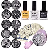3Pcs Black Gold Silver 10ml Special Nail Stamping Enamel, Nail Beauty Design Salon With Pink Stamping Transfer Pattern, and Stamper with Random 10 Scraper Template Kit Set,50 Polish Remover Wraps