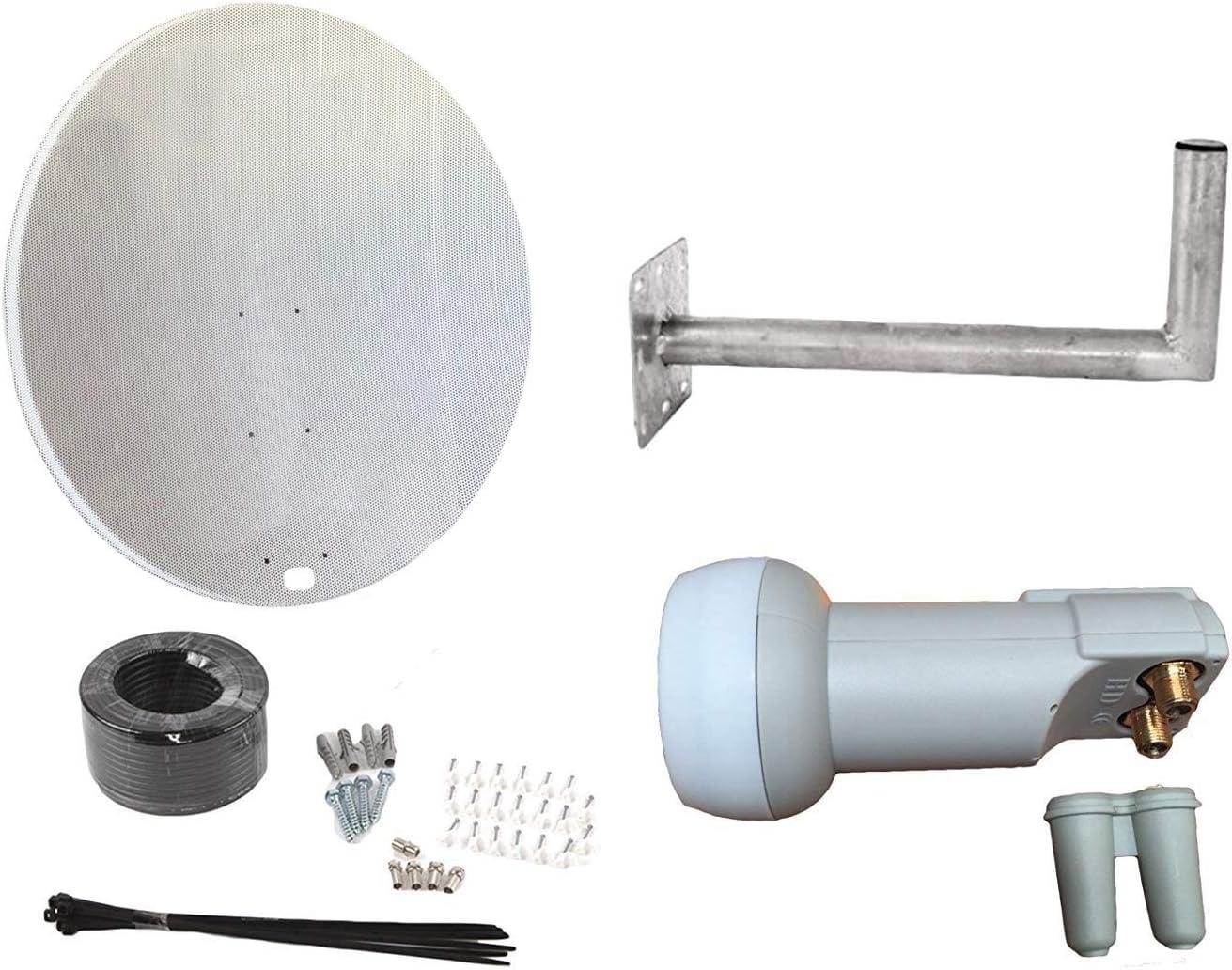 Plato de 120 cm con Montaje en Pared, Doble LNB y Kit de instalación