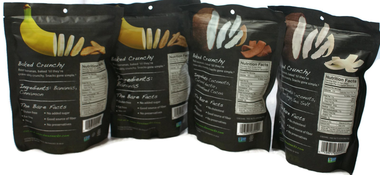 Variety Pack - Bare Fruit Chips - Toasted Coconut (3.3 oz), Chocolate Coconut (2.8 oz), Simply Banana (2.7 oz), Cinnamon Banana (2.7 oz) by General (Image #2)