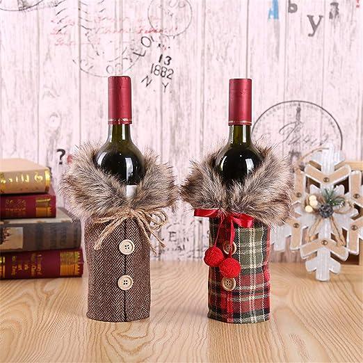QHGao Juego De Botellas De Navidad De 2 Piezas, Diseño De Abrigo De Cuello Y Botón,
