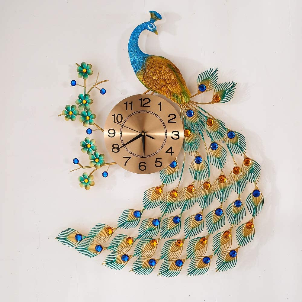 """KINBEDY Large Luxury Crystal Bohemian Peacock Style 31""""X 20"""" Metal Rustic Wall Clock with Silent Movement 10"""" Metal Dial Large Sunburst Big Fancy Decorative Clock for Living Room, Bedroom"""