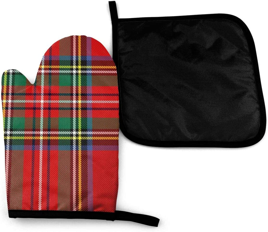 Lozeow Mitts Tartan Pattern Scottish Cage Oven Gloves Heat Resistant Silicone Shell Kitchen for 500 Degrees with Waterproof