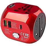 milool Adaptador Enchufe de Viaje Universal Adaptador con Tres Puertos USB y Tipo-C(3A) para EU AU US UK Más de 150…