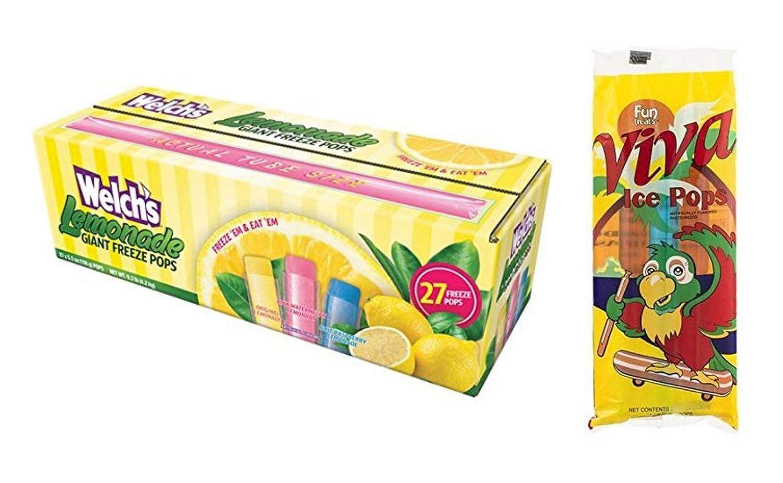 Welch's Lemonade Giant Freezer Pops (27 count) + Fun Treats Viva Ice Pops (8 count)