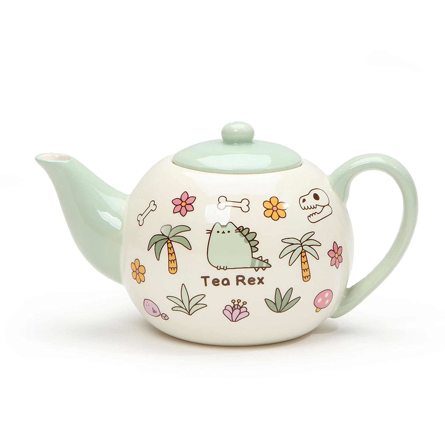 """Pusheen by Our Name is Mud """"Pusheen Tea Rex"""" Stoneware Teapot, 4.25 Inches"""