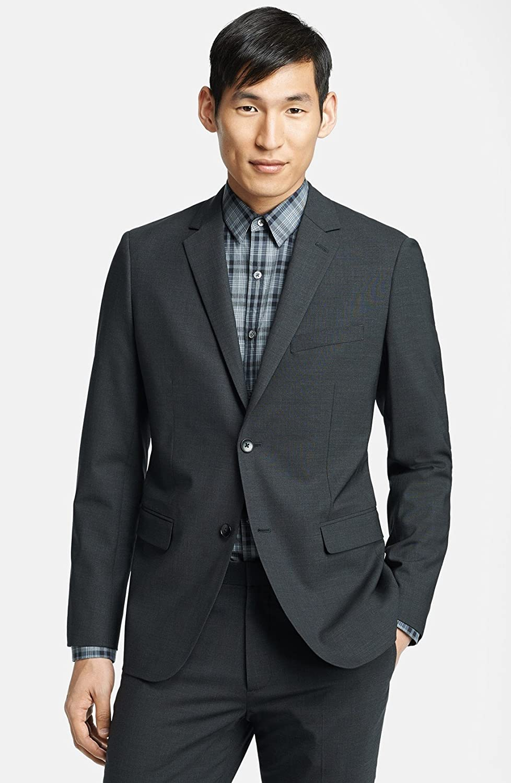 セオリー アウター コート Theory 'Wellar New Tailor' Trim Fit Wool Dark Charc [並行輸入品] B079YMQHHS  46 Regular