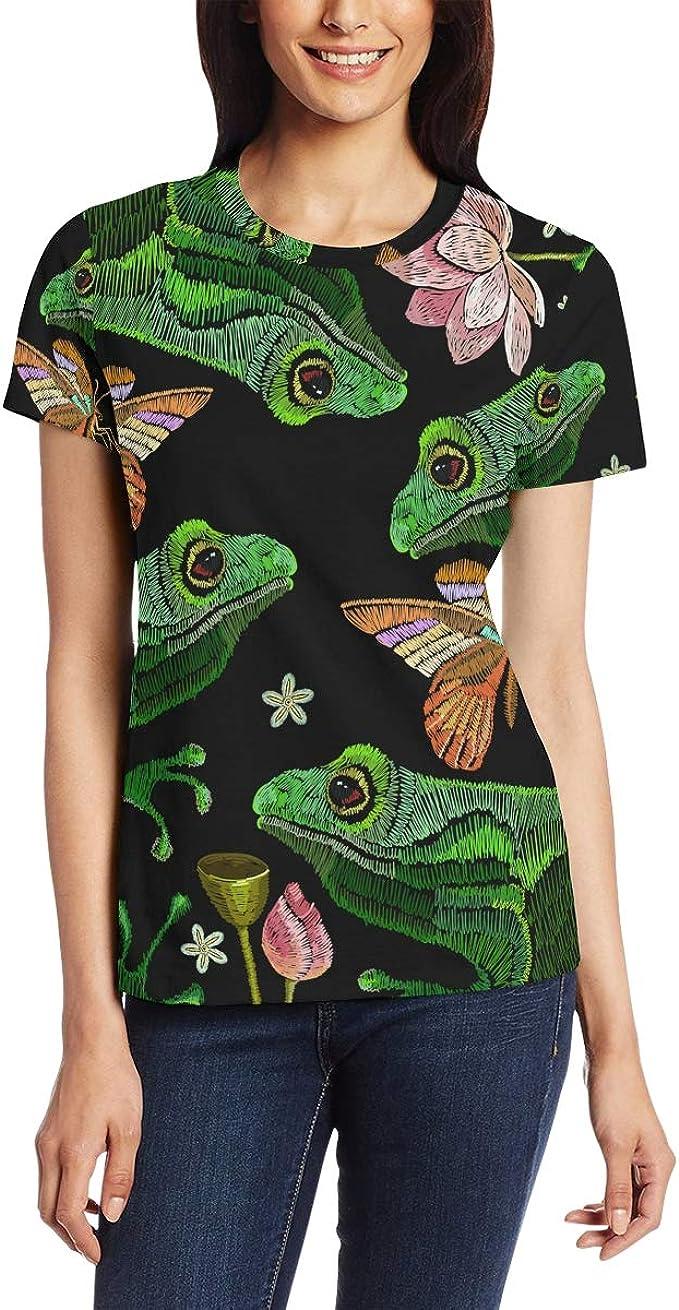 AHOMY - Camiseta de manga corta para mujer, diseño de rana y flores de loto, cuello redondo, para verano