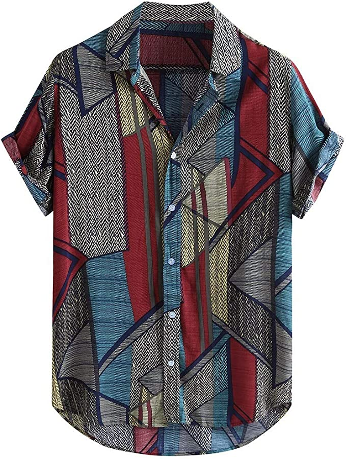 80s Men's Clothing | Shirts, Jeans, Jackets for Guys Coersd T Shirts Mens Cotton Linen Printed Short Sleeve Casual Shirts Tie Summer Tops $15.51 AT vintagedancer.com