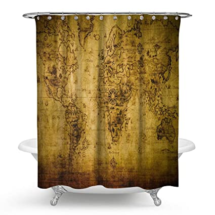 Image Unavailable Not Available For Color HMWR Old World Map Waterproof Bath Shower Curtain