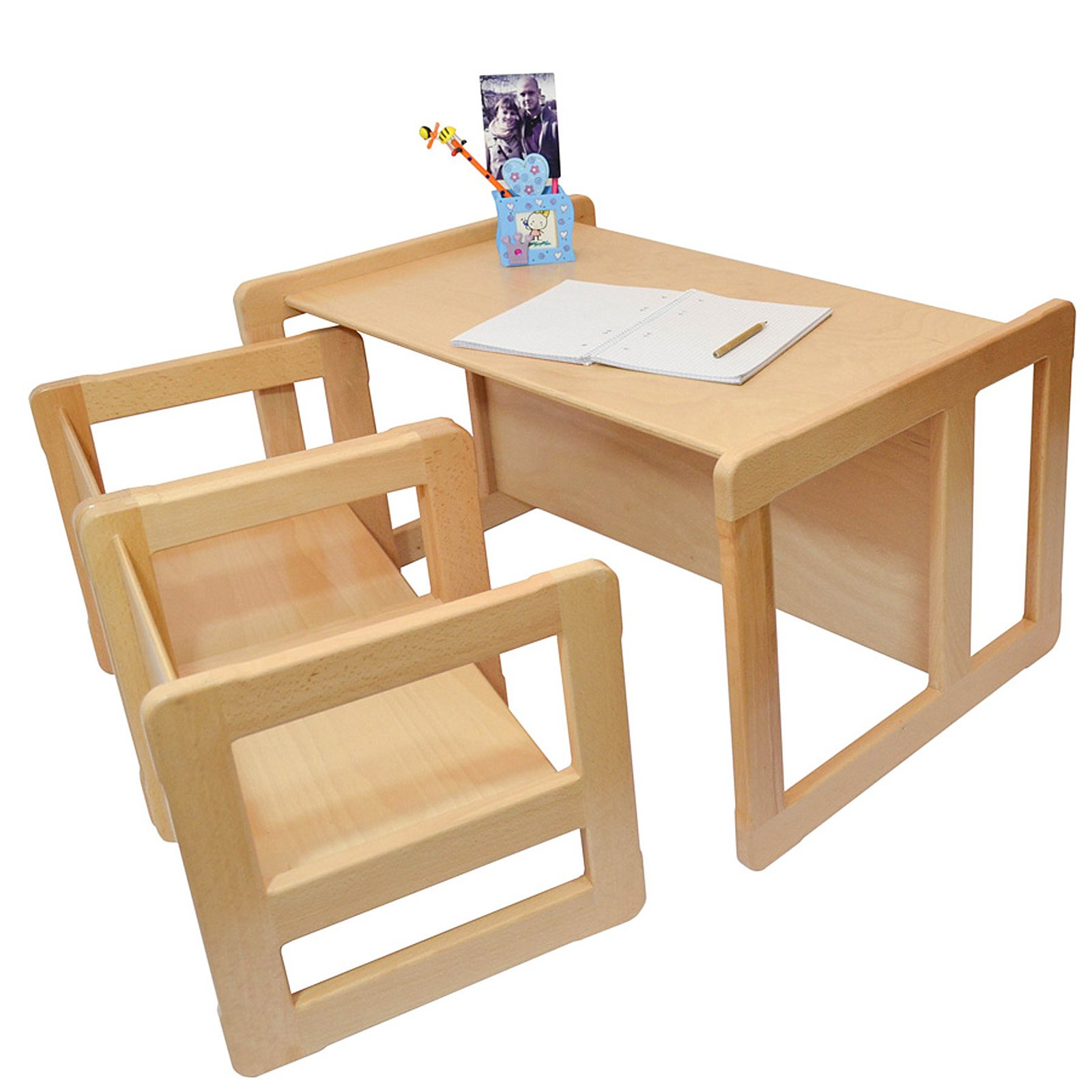 3 in 1 Childrens Multifunctional Furniture Set of 3, Two Small Chairs or Tables and One Large Bench or Table Beech Wood, Natural by Obique Ltd