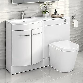 Superb 1200 Mm White Vanity Unit Countertop Basin Toilet Bathroom Furniture Set Mv1610 Home Interior And Landscaping Transignezvosmurscom