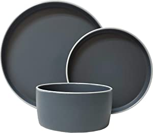 Tabletops Gallery Modern York Collection- Round Contemporary Modern Colored Ceramic Stoneware Colored Dinner Salad Plate Cereal Bowl Matte Finish, 12 Piece York Dinnerware Set in Midnight Fog