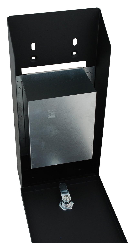 colore: nero Buckingham-Presa a muro per esterni con serratura-Bidone//portacenere//Pattumiera in legno di frassino con 2 fessure robusto