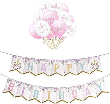 Auony Licorne Imprimer Joyeux Anniversaire Drapeau De Banniere Avec 12 Ballons Pour Anniversaire Baby Shower Party Decorations Amazon Fr Jeux Et Jouets