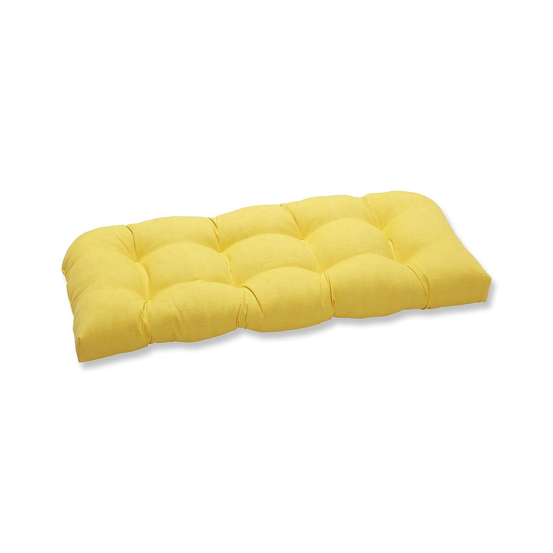 Pillow Perfect Outdoor Fresco Yellow Wicker Loveseat Cushion