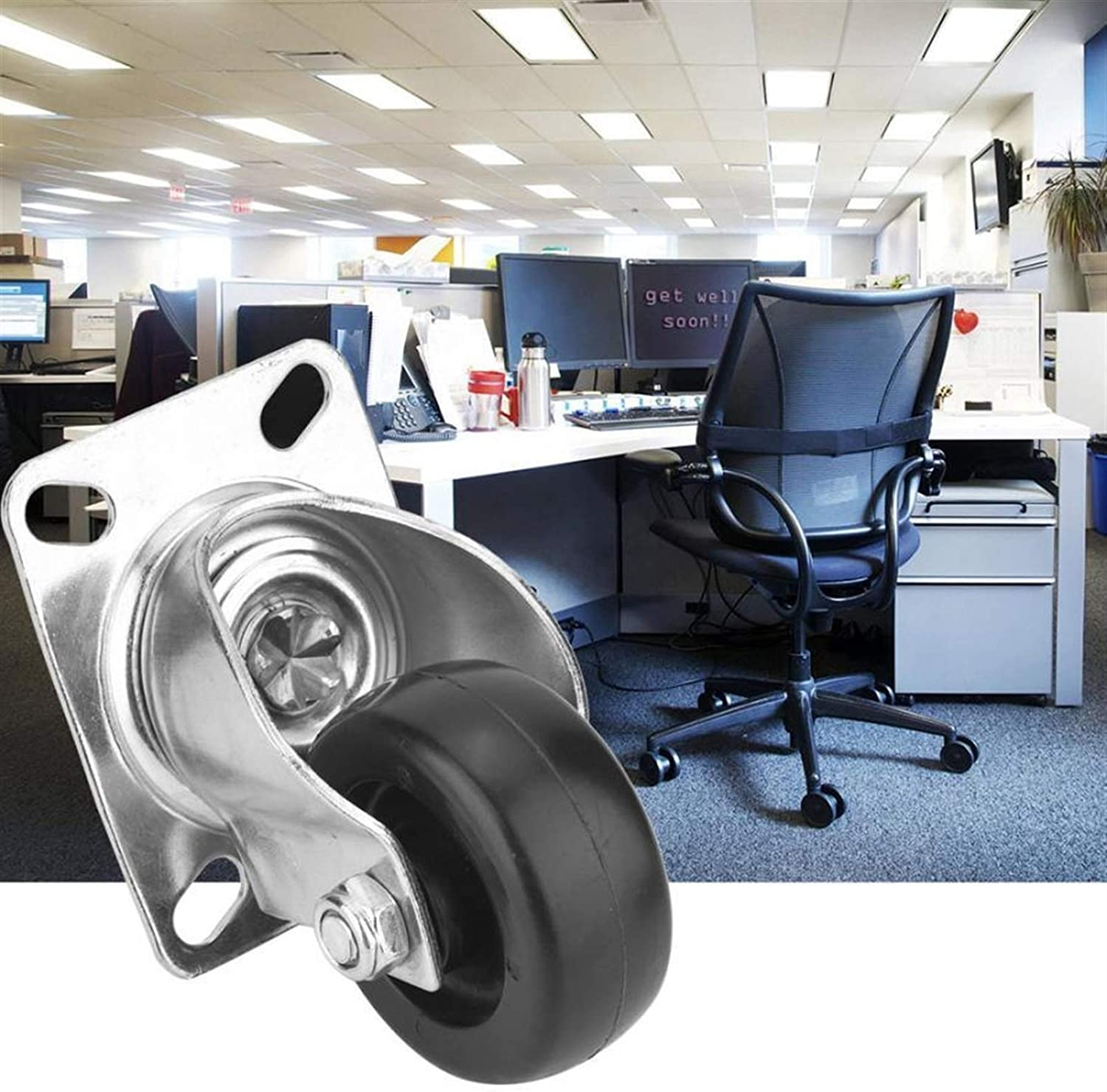 LDDJ Casters Rubber Wheels for Office Chairs 3 Inch Swivel Top Plate Hooded Caster PP Wheel for Furniture Trolley Castor Wheels Durable