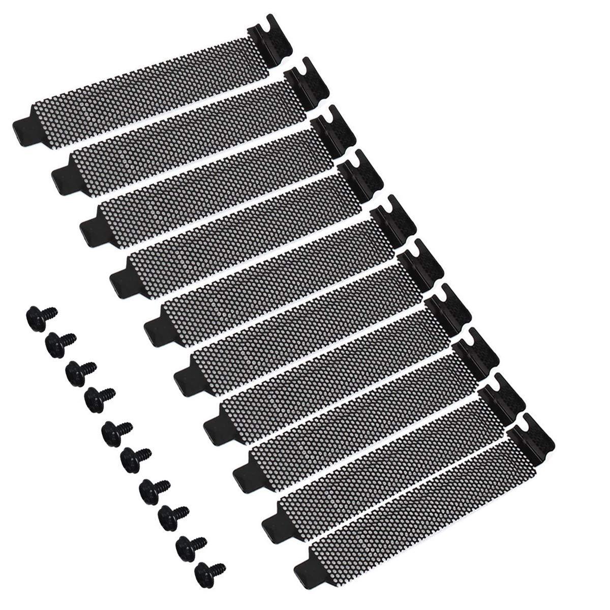 10PCS PCI Slot Cover Dust Filter Black Hard Steel Bracket Expansion Blanking Plate Ventilation Deflector with Screws