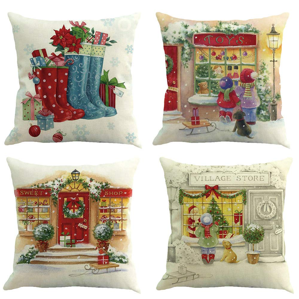 Sunshinehomely Clearance 4PC Christmas Santa Claus Snowmen Red Printed Pillowcase Happy Christmas Pillow Cases Linen Sofa Cushion Cover Home Decor (D)