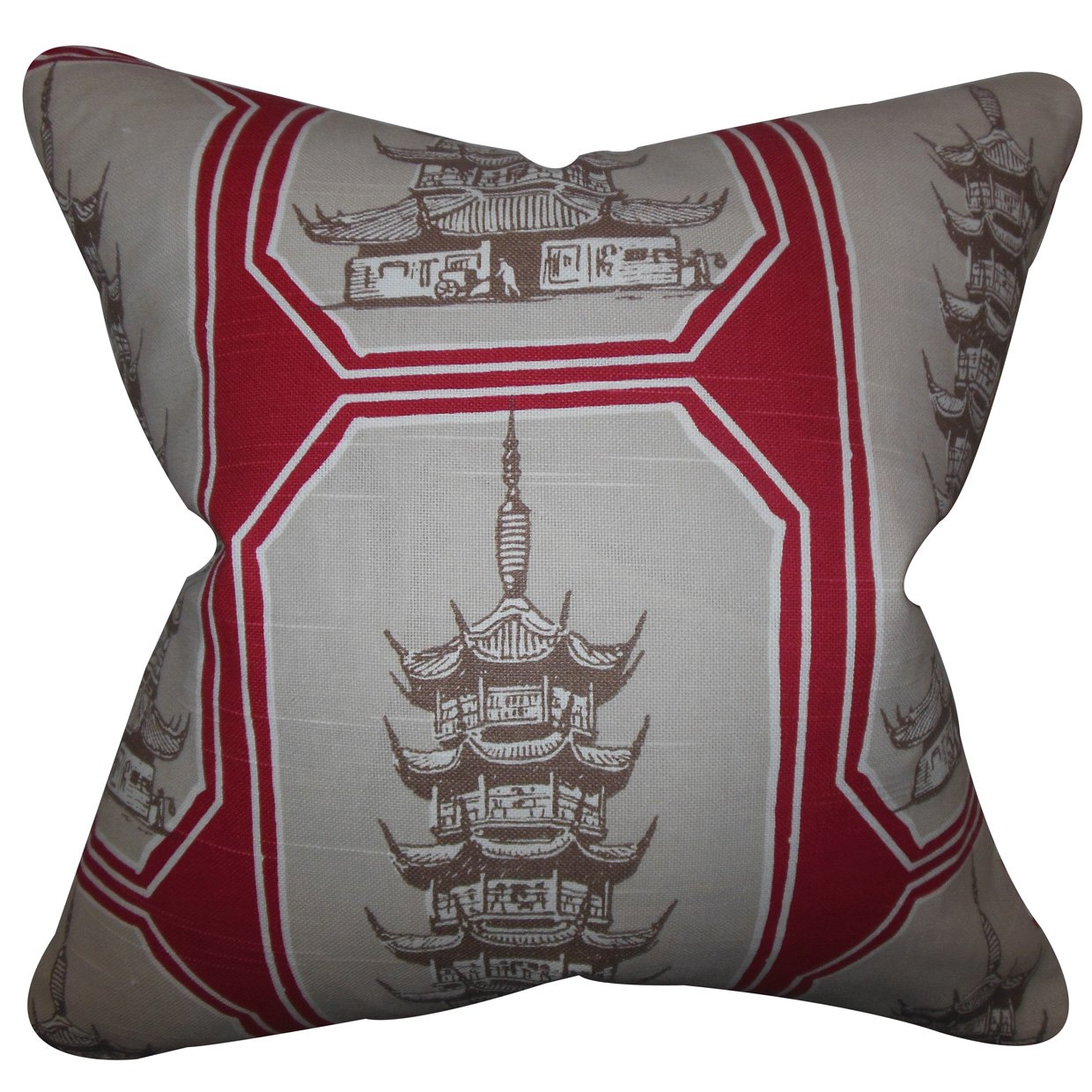 The Pillow Collection Chakra Geometric Bedding Sham Gray Red European//26 x 26