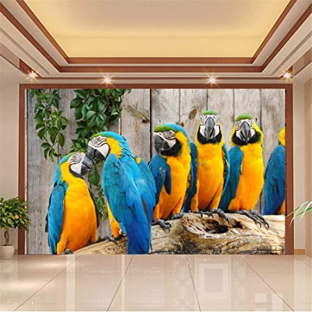 Zybnb Custom 3D Wall Mural Wallpaper Animal World Parrot Wood Grain Background 3D Living Room Bedroom Wall Painting Photo Wallpaper-350X250Cm: Amazon.co.uk: ...